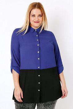 67077a1f54499 British Plus Size Womens Black   Colour Block Woven Shirt  British  UK   FashionBug