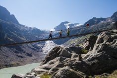 TRIFT BRIDGE Trift Bridge is the longest pedestrian-only suspension bridge in the Swiss Alps. The bridge is a simple suspensionbridge design spanning 170 metres (560 ft) and traversing a height of 100 metres (330 ft).