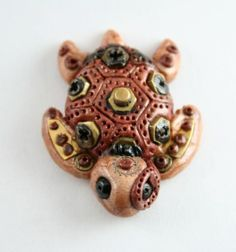 steampunk polymer clay projects - Google Search Polymer Clay Turtle, Polymer Clay Kunst, Polymer Clay Animals, Polymer Clay Miniatures, Fimo Clay, Polymer Clay Projects, Polymer Clay Charms, Polymer Clay Creations, Polymer Clay Jewelry