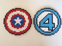 Captain America and Fantastic Four Marvel perler beads by PlanetPixel on Etsy