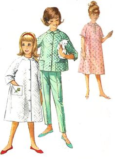 1960s Childs Robe Pattern Vintage Sewing Simplicity Pajamas Top Pants Girls Size 4