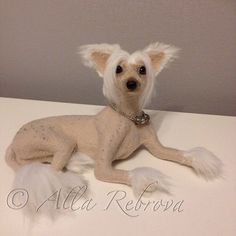 Needle felted 100% wool doll Chinese Crested dog by coalla on Etsy