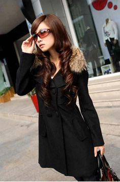 euro 16 incl. shipping   Medium long trench woolen outerwear double breasted casual overcoat fur collar ,long coat for women-inWool & Blends from Apparel & Accessori...