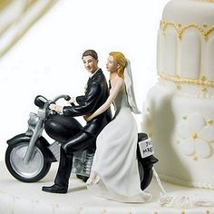 'Just Married' Motorcycle Cake Topper