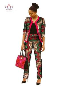 Image of Tailor made african, Pant Sets for Women Dashiki Crop Top and Pants/ Africa Clothing print Plus Size Clothing African Print Dress Designs, African Print Dresses, African Fashion Dresses, Fashion Outfits, Chic Outfits, African American Fashion, African Inspired Fashion, Africa Fashion, African Attire