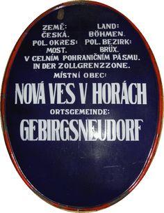 Gebirgsneudorfer Ortsschild um 1935