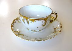Antique Teacup Bavarian Porcelain Germany Hand Painted Gold Tea Cup and Saucer
