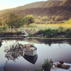 Picnic on the pond, Patina Farm in Ojai. Outdoor Spaces, Indoor Outdoor, Outdoor Living, Patina Farm, Provence Style, Chula, Farm Life, Country Life, The Great Outdoors