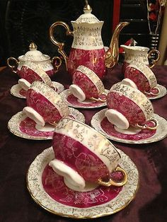 VINTAGE Bone China Rich Pink & Gold Chintz Flowers 15 Piece Demitasse Coffee / TEA SET (Dainty but not miniature) BEAUTIFUL & SCARCE ! Set Consists of .... 6 x Cups 6 x Saucers Coffee / Tea Pot Sugar