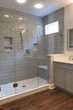 If you are looking for Master Bathroom Shower Remodel Ideas, You come to the right place. Here are the Master Bathroom Shower Remodel Ideas. Master Bathroom Shower, Master Bathrooms, Bathroom With Wood Floor, Wood Tile Shower, Bathroom Mirrors, Bathroom With Gray Tile, White Bathroom, Bathroom Marble, Tile Wood