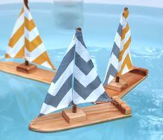 Chevron Stripe Sailboat. $20.00, via Etsy.