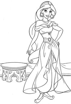 Walt Disney Coloring Page Of Princess Jasmine From Aladdin HD Wallpaper And Background Photos Pages