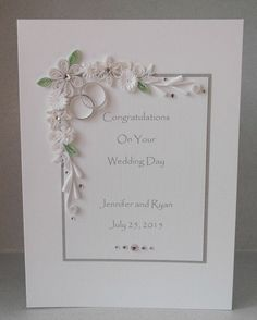 """Wedding congratulations card, personalized, handmade, quilled, paper quilling. A very pretty and unusual quilled diamond wedding card – you will not find anything like this in the shops. This card measures 6 ins x 8 ins.  This card is perfect for sending special congratulations to the special couple. The panel can be printed with their names and the date of the wedding or any message of your choice. Say anything youd like....just let me know in the """"notes to seller"""" section at checkout or…"""