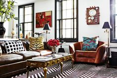 Pattern mixing perfection //Pattern-Packed Townhouse in Brooklyn Heights via @domainehome