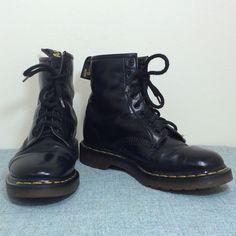 Mens Vintage 90s Dr Martens Black Combat Boots by BeatificVintage