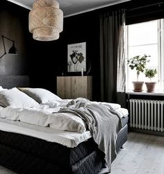 dark bedroom, sinnerlig pendant, Ivar ooden cupboard