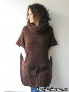 Brown Mohair Hand Knitted Poncho with Accordion Hood and Pocket Plus Size Over Size Tunic - Dress by Afra by afra on Etsy Poncho Knitting Patterns, Knit Patterns, Hand Knitting, Hand Knitted Sweaters, Knitted Poncho, Big Knits, Knit Fashion, Knitwear, Knit Crochet