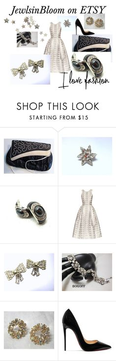 """Holiday Sparkle"" by jewlsinbloom ❤ liked on Polyvore featuring Timmy Woods, Mary Katrantzou, Christian Louboutin and vintage"