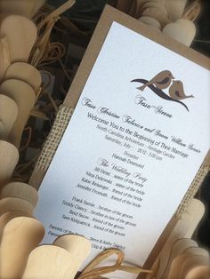 Rustic Love Birds Burlap Fan Wedding Program by designunfurls