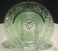 "Tiara glass   Tiara Indiana Glass Chantilly Green Sandwich 12"" Divided Relish Tray ..."