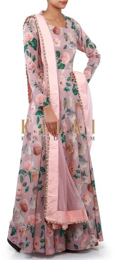 Buy Online from the link below. We ship worldwide (Free Shipping over US$100). Product SKU - 302275. Product Link - http://www.kalkifashion.com/mauve-anarkali-suit-adorn-in-rose-motif-print-only-on-kalki.html