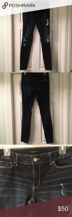 White House Black Market Dark Ripped Blue Jeans in perfect condition and very comfortable! White House Black Market Jeans Skinny