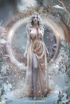 fantasy Four Seasons : Winter by AlexandraVBach on DeviantArt Fantasy Girl, Chica Fantasy, Fantasy Women, Dark Fantasy, Fantasy Inspiration, Character Inspiration, Character Art, Poster S, Art Graphique