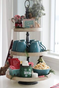 Our Kitchen Tea Station and Tiered Trays for Kitchen Storage Tiered tray stands are great for storage and organization or for seasonal displays; I used mine to create a tea station in our newly organized kitchen. Tray Decor, Decoration Table, Tea Station, Snack Station, Home Coffee Stations, Tiered Stand, Christmas Kitchen, Cozy Christmas, Rustic Christmas