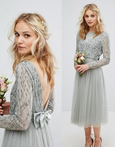 Soft sage green backless bridesmaid dress - tulle, bows and embellishments screams romance. Maya at ASOS UK (affiliate)