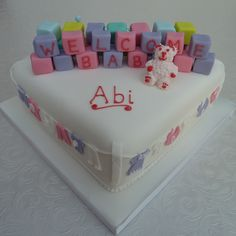 Baby shower cake - A girl ! By www.cakesbykit.co.uk
