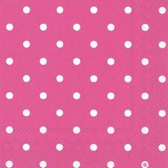 Dainty Dots Pink Lunch Napkins - Polka Dot - Patterns PlatesAndNapkins.com