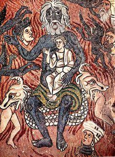 Basilica di Santa Maria Assunta a Torcello, Venezia, Giudizio Universale (secolo  XI).  Dettaglio dell'Inferno:Lucifero in trono con Giuda in grembo.