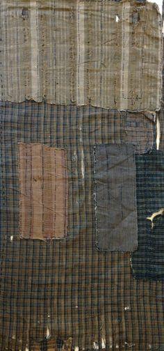 Antique Japanese Handwoven boro pathwork Sashiko Mended Textile - Mujo.