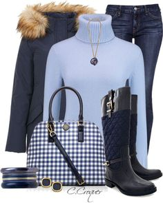 Blue on Blue fall winter outfit with riding boots