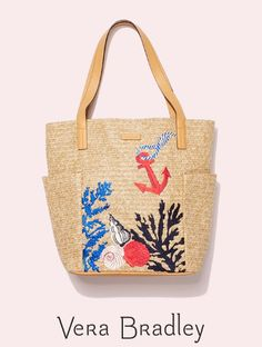 This stylish straw bag from Vera Bradley is perfect for strolling the boardwalk. Tuck in your sunscreen, a wrap in case it gets breezy, and your sunnies and you are ready to go! Exterior features two side slip pockets. Interior features a hidden zip pocket on the base. Types Of Handbags, North South, South Beach, Beautiful Bags, Accessories Shop, Tote Handbags, Sunscreen, Vera Bradley, Sunnies