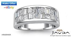 Princess Baguette Invisible Diamond Mens Wedding Band 14k White Gold Ring 1.40Ct