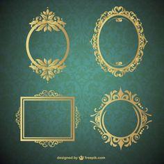 Four frames with vintage ornaments Vector Molduras Vintage, Foto Frame, Frame Border Design, Photo Wall Decor, Broken Doll, Borders And Frames, Monogram Wedding, Wedding Monograms, Stencil Patterns