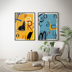 "Left: ""Frederico / Ana"" // Right: ""Gonçalo / Miguel"" – custom posters for home decor"