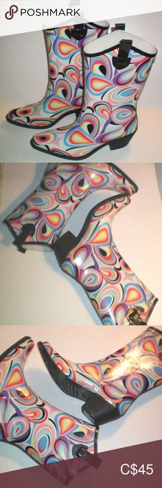 """Retro Psychedelic Cowboy Style Rain Boots - Women Size 9 - rubber pull on western style boots with multi colour tear-drop swirls - mid calf height - 2"""" Heel - in excellent condition as new Shoes Winter & Rain Boots Winter Duck Boots, Black Winter Boots, Sorel Winter Boots, Black Rain Boots, Hunter Rain Boots, Winter Rain, Kodiak Boots, Columbia Boots, Sheepskin Ugg Boots"""