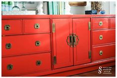 Amazing Chinoiserie-style dresser used for storage in a guest room/office (design by Grace Mitchell of A Storied Style)
