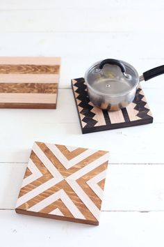 Geometric wood trivets— Easy to make, and great kitchen wall decor too! coasters diy handmade DIY Geometric Wood Trivets - A Beautiful Mess Wooden Crafts, Wooden Diy, Diy And Crafts, Wooden Coasters Diy, Painted Wooden Boxes, Decor Crafts, Diy Mothers Day Gifts, Diy Gifts, Homemade Gifts