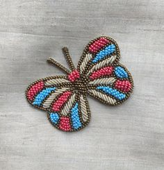 Best 11 Butterfly Multicolour Beaded Embroidery Patch,Indian Handmade Butterfly Patch Blue Pink Beads Embroidery Applique,Quirky Boho Bag Charm by IndianCraftSafari on Etsy Hand Embroidery Videos, Bead Embroidery Patterns, Hand Work Embroidery, Indian Embroidery, Hand Embroidery Stitches, Embroidery Fashion, Embroidery Patches, Embroidery Jewelry, Hand Embroidery Designs