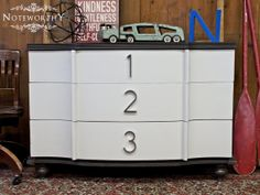 Numbered Dresser using house numbers, modern dresser, kids dresser, changing table, painted modern dresser, painted furniture