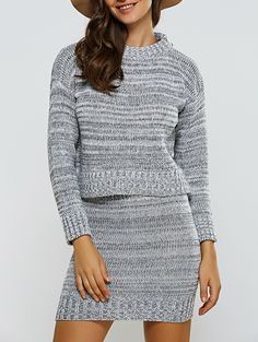 Two Piece Dresses | Gray Ribbed Sweater + Skinny Knitted High Waist Skirt Twinset - Gamiss