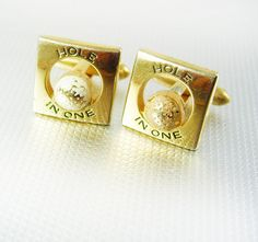 HOLE in ONE GOLF BaLL Cufflinks Vintage Gold filled Swank Designer Fine Jewelry Athletics Golfers. A perfect addition to a collection or for a