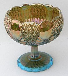 Carnival glass Pineapple rosebowl-shaped compote Light Blue/aqua - divine!