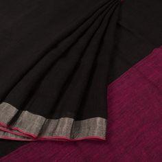 Handwoven Black Linen Saree With Zari Border 10015411 - AVISHYA.COM