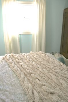 Cable Knit Throw from grandma Bedroom Inspiration, Bedroom Ideas, Cable Knit Throw, Knitted Throws, Humble Abode, New Room, Linens, Household, Sweet Home