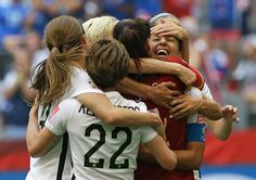 July 5, 2015 -- In a Rout and a Romp, U.S. Takes World Cup - American players after Carli Lloyd scored her third goal of the game to put the United States ahead by 4-0. Credit Elaine Thompson/Associated Press -- The New York Times