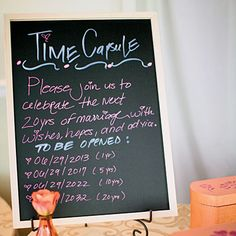 Time capsule wedding guest 'book'. Guest fill out a card with wishes, hopes, and advice for the bride and groom to open in 1 year, 5 years, 10 years...etc.